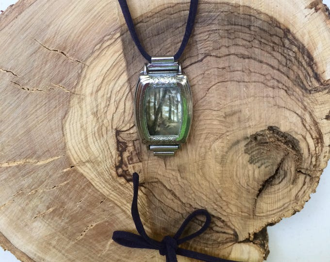 Break / tiny painting framed in antique watch / tiny landscape painting / wearable art pendant + bracelet / light + tress / forest + fog