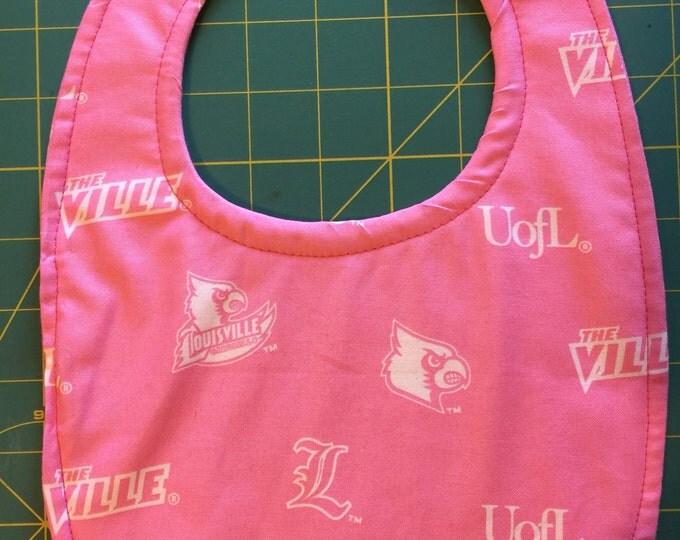 Baby Bib University of Louisville Cardinal Inspired Pink Fabic