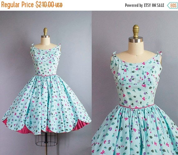 1950s Floral Cotton Sundress/ Small (36b/26w)