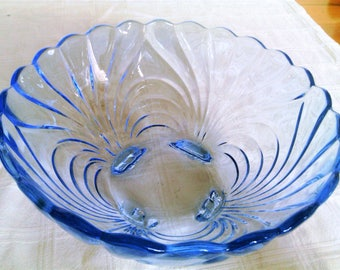 Vintage Cambridge Caprice Moonlight Blue Large Fruit Bowl