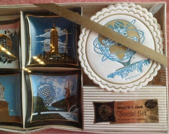 "Vintage 1963 World's Fair ""Social Set"" Old Stock in Box Hostess Set Napkins Coasters and Trays"