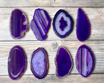 "Purple Agate Place Cards 2.5""-3.5"" Blank Geode Wedding Crystals Placecards Bulk Agate Slices Wholesale geodes wholesale agate"