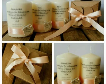 Bridesmaids' candles - set of 8 candles individually packed in the kraft box