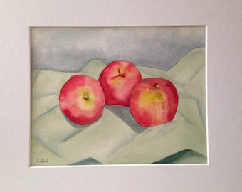 Original watercolor still life painting of Apples on green cloth matted and signed