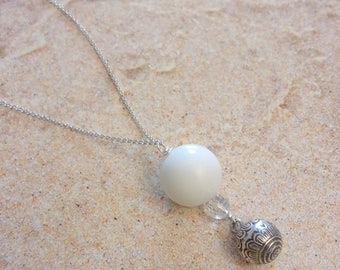 Pregnancy jewelry - necklace Bola - Silver 925 and natural stones, white Agate and crystal of rock