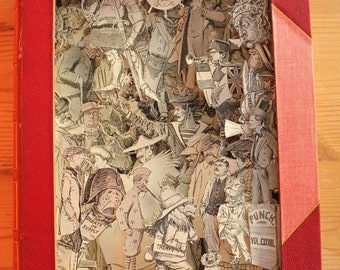 Punch Annual 1905 - 3D Book - Book Art - Book Sculpture - Altered Book - Book Paper Sculpture - Sculpture de Livre - Humour - History