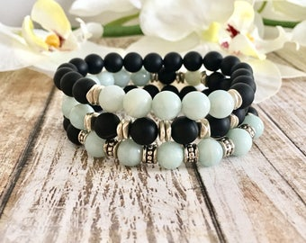 Amazonite Black Onyx Bracelet Stack, Yoga Bracelet Stack, Handcrafted Gift Ideas, Birthday Gifts, Healing Crystals