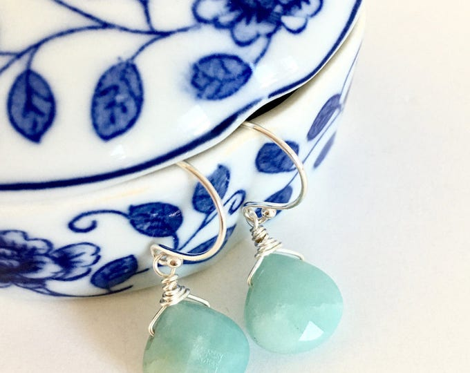 Featured listing image: Amazonite Sterling Silver Wire Wrapped Briolette Earrings, Healing Crystals, Gemstone Jewelry, Teardrop Earrings, Birthday Gift Ideas