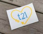 "Down Syndrome Awareness Decal, Car Decal, Laptop Decal, Vinyl Decal, Heart and Arrow ""t21"" Design Decal, Yellow and Blue"