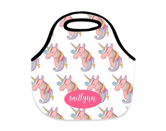 lunch box, unicorn, lunch bag, rainbow, back to school, unicorn lunch box, personalized girl lunch box
