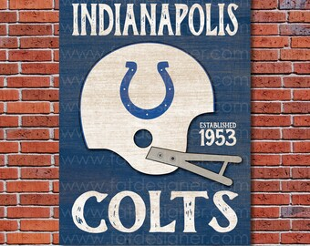 Indianapolis Colts - Vintage Helmet - Art Print - Perfect for Mancave