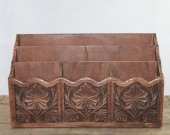 Vintage Carved Faux Wood Desk Organizer by Lerner