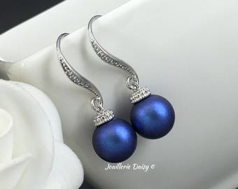 Something Blue Earrings Swarovski Iridescent Blue Earrings Bridal Earrings Bridesmaid Earring Wedding Jewelry Maid of Honor Gift for her
