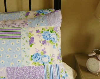 Lovely Patchwork Floral Vintage Style Bedroom Pillow Shams Cases in Blue Floral Cotton Fabric