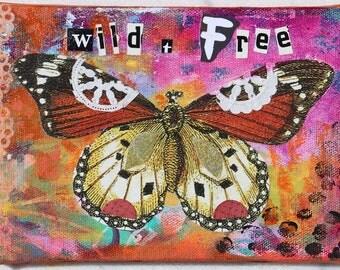 Wild and Free Boho Butterfly Mixed Media Original
