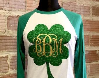 St. Patrick's Day Monogram Shamrock Baseball Tee