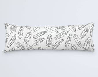 Boho Feathers Body Pillow Cover Bohemian Large Pillow Black and White Modern Bed