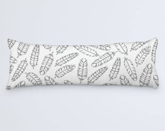 Boho Feathers Body Pillow Cover, Bohemian Large Pillow, Black and White, Modern Bed Pillow, Feathers Long Pillow, 20x54 Pillow Cover