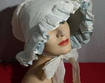 Cotton Organdy Prairie Bonnet- Lovely white and Light Blue - Full Coverage- Perfect for Reenactors or Working in the Yard- Costume