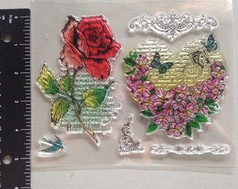 Rose and heart clear stamps