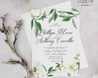 Green and Magnolia Wedding Invitation, white floral wedding, garden wedding, outdoor wedding cards, Magnolia wedding suite