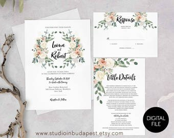 Printable Floral Wedding Invitation, rose wedding, invite calligraphy, garden wedding, summer wedding cards, PRINTABLE