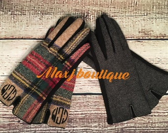 Monogrammed Plaid Gloves - Personalized women's gloves - Embroidered herringbone gloves