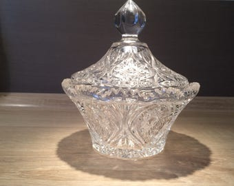 Decorative vintage glass bowl, probably made of crystal glass.