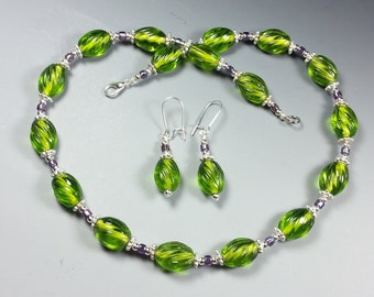 Lovely Lime Green Glass Necklace and Earrings Set with a Dash of Purple