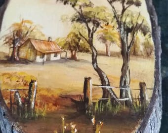 Miniature Australian Painting on a piece of wood