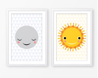 Kids poster set,sun and moon poster,baby poster,nursery digital poster,nursery decor,children wall art,baby wall art,scandinavian style