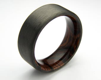 Carbon Fiber ring with Cocobolo wood liner
