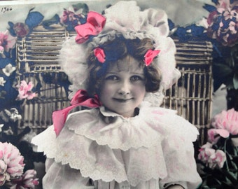 Peonies & Ruffles // Antique tinted real photo postcard of Edwardian girl with flowers
