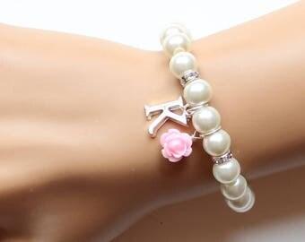 Flower girl gift, personalized flower girl bracelet, flower girl bracelet, wedding gift, pearl bracelet, childrens bracelet, baby bracelet