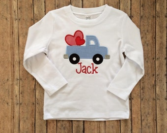 Truck with Two Hearts Applique Shirt