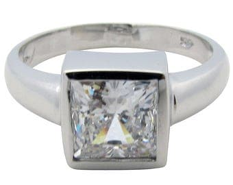 ITEM R32445 14K Yellow or White Solid Gold 1ct Princess Center CZ Bezel Solitaire Ring