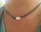 Brack leather choker with freshwater pearl sterling siver