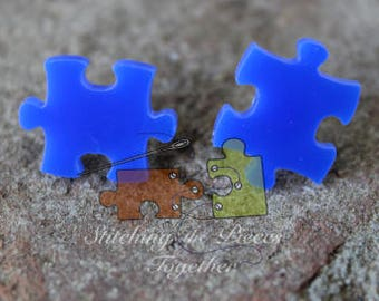 Blue Puzzle Piece Earrings Autism Awareness