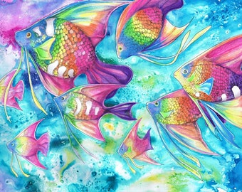 RAINBOW FISH // Original // Watercolor Ink // Painting // Illustration