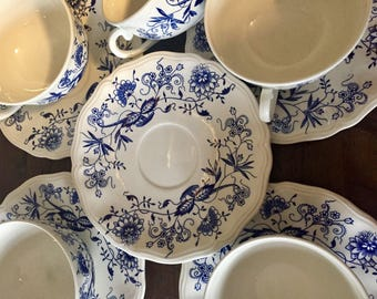 Gorgeous Set Of Rare French Cups and Saucers, KG Luneville France, White Ironstone With Blue Flowers, 1930's, Excellent Condition.