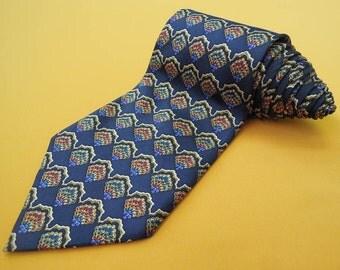 Christian Dior Tie Pure Silk Floral Repeat Pattern Blue Vintage Designer Dress Necktie Made In Canada