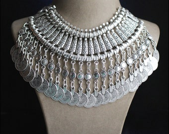 Sale! Oriental Style Silver plated Turkish Tribal Boho Neckleace with Old Ottoman Coins imitation
