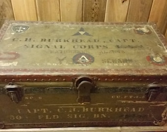 Antique 1922 US Army Signal Corp Foot Locker Trunk from Alaska, Special History!
