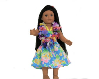 Bright Blue Pa'u Hula Dress with Floral Lei for 18 Inch Dolls such as American Girl, Our Generation, Madam Alexander
