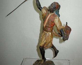 Running Moor Austrian Cold Painted Bronze Figure by Franz Bergman