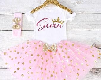 Birthday 7 Outfit. CUSTOM AGE. Girls Birthday Outfit. Tutu Set. Birthday Tutu Outfit. Birthday Outfit Girl. 7th birthday S8 7BD (LIGHTPINK)