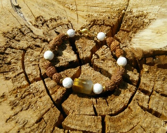 Rudrashka with Tiger Eye Stone and White beads with Brass Bracelet