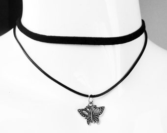 Black Leatherette Double Layer Choker with Pendant - Butterfly
