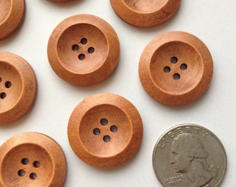 "10 Wooden Buttons 25mm Wood Buttons 1"" inch Button Large Buttons Wood Round Embellishments Craft button Sewing Notions Craft Supplies diy"