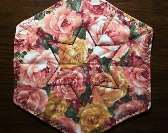 "Quilted Mug Rug ~ 8"" Floral ~ Country Cottage ~ Burgundy Star ~ Octagon ~ Handmade ~ Best Selling Item"